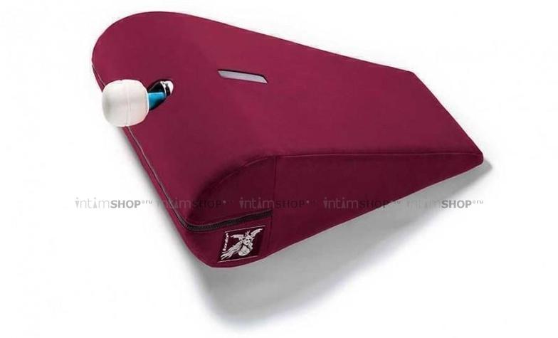 Подушка для любви малая Liberator R-Axis Magic Wand с отверстием под массажер, рубиновый вельвет
