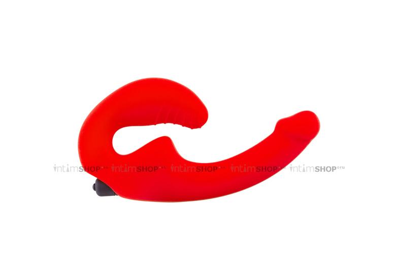 Анатомический безремневой страпон Главсексмаг с вибрацией, оранжевый