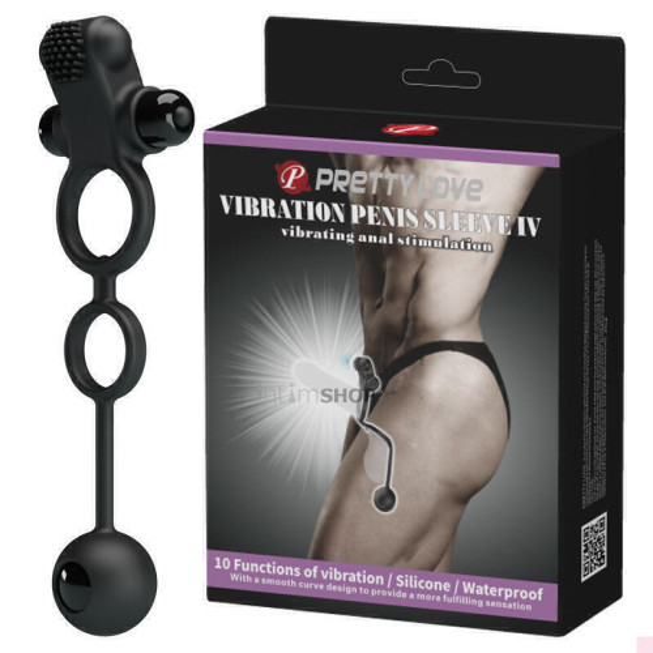 Эрекционное Виброкольцо с Анальным Стимулятором Pretty Love Vibration Penis Sleeve IV Baile
