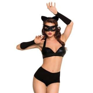 Костюм кошечки SoftLine Collection Catwoman (бюстгальтер, шортики, головной убор, маска и перчатки), чёрный, L