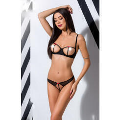 Комплекты Passion Lingerie Heidi set with open bra, Чёрный, L/XL