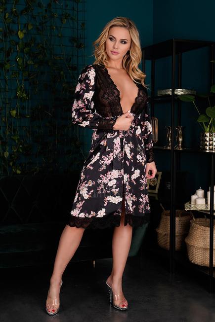 Пеньюары LivCo Corsetti Fashion LC 90596 Maranto szlafrok, Чёрный, L/XL