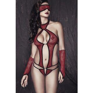 Боди, маска и перчатки Anais Ashley, красно-черный, M