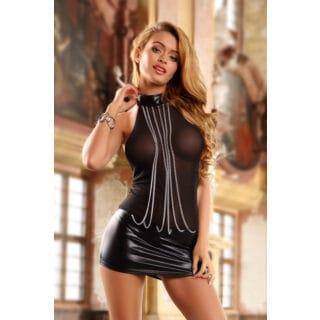 Платье Candy Girl с металлическими цепочками и стринги, wetlook, черные, OS