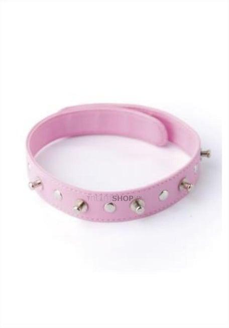 Узкий розовый ошейник с шипами, на кнопках, из искуственной кожи Le Frivole, OC