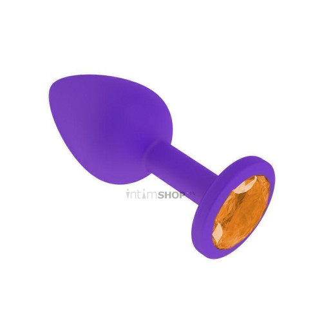 Анальная втулка силиконовая фиолетовая с оранжевым кристаллом маленькая
