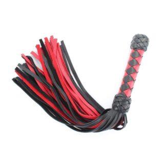 Плеть черно-красная с плетеной ручкой БДСМ арсенал