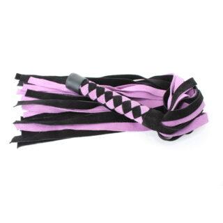 Нежная плеть из замши БДСМ арсенал, черно-розовая