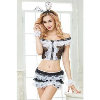 Костюм зайки Candy Girl Cherry (топ, юбка, головной убор, трусы, манжеты), черно-белый, OS