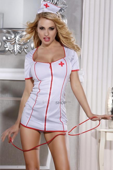 Костюм медсестры Candy Girl (платье, стринги, головной убор, стетоскоп), белый, OS