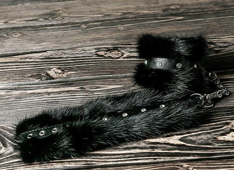 HMLB2001 / Наручники из Черной Норки, цвет Черный