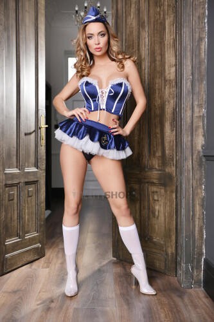 Костюм морячки Elawin (корсет, юбка, стринги, пилотка и чулки), сине-белый, XXL
