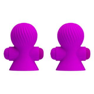 Вибропомпы на соски Pretty Love Nipple Sucker, фиолетовые