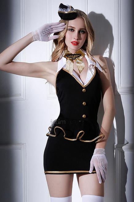 Костюм стюардессы Candy Girl Amber, черно-белый, OS