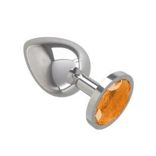 533-10 ORANGE-DD / Анальная втулка Silver с оранжевым кристаллом большая