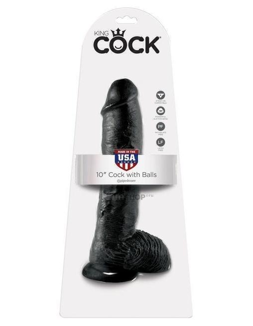 Фаллоимитатор-гигант на присоске с мошонкой черный King Cock 10 Cock with Balls Black Pipedream