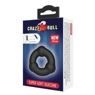 Эрекционное кольцо из мягкого силикона с 3-мя шариками Baile CrazyBull Super Soft Slilicon Baile