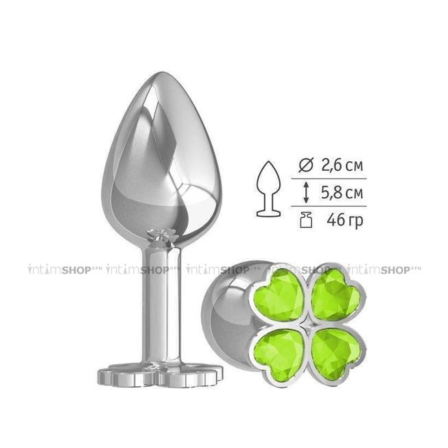 Анальная пробка с салатовыми стразами Silver Shamrock, серебряная