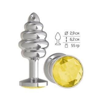 Анальная втулка Silver Spiral с желтым кристаллом