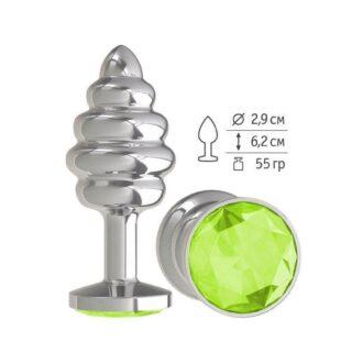 Анальная втулка Silver Spiral с салатовым кристаллом
