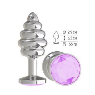 515-13 LILAC-DD / Анальная втулка Silver Spiral с сиреневым  кристаллом