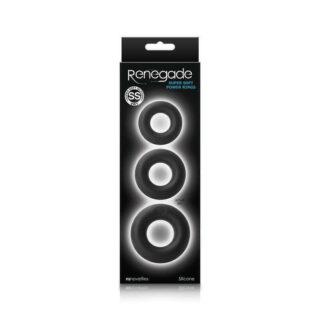 Набор колец из мягкого силикона Renegade - Super Soft Power Rings - Black, черный