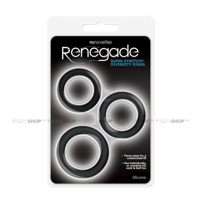 Эрекционные кольца Renegade - Diversity Rings - Black 3 шт, черный