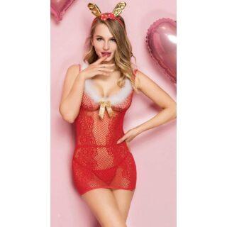 Новогодний костюм эротической Снегурочки, красный, S/L