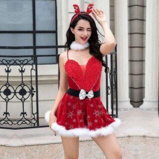 Новогодний костюм эротической Снегурочки с сердцем