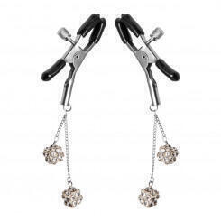 Зажимы на соски XR Brands Ornament Adjustable Nipple Clamps with Jewel Accents, серебристые
