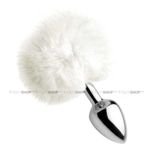 Анальная пробка с заячьим хвостиком XR Brands White Fluffy Bunny Tail, серебристый