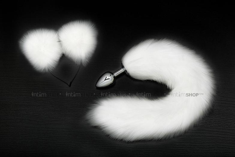 Анальная пробка Пикантные Штучки с белым хвостом и ушками, серебристая, 7 см