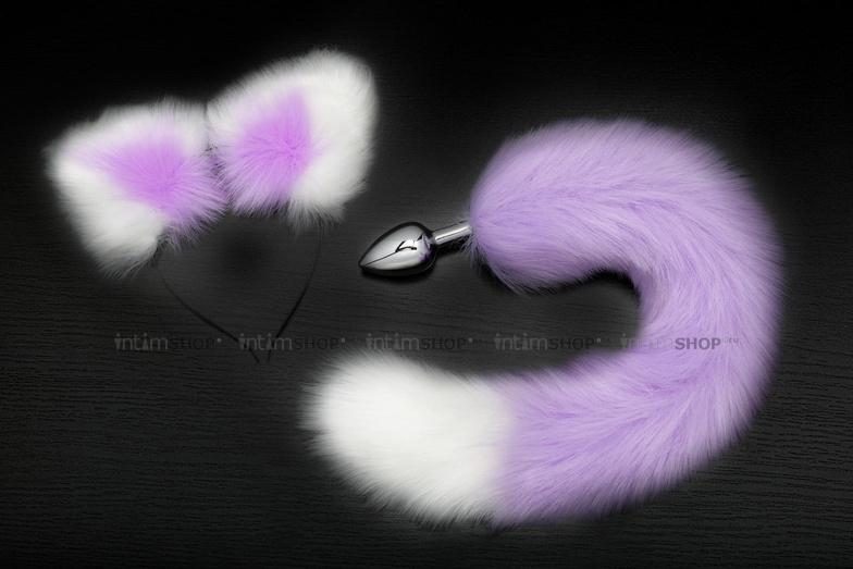 Анальная пробка Пикантные Штучки с фиолетово-белым хвостом и ушками, серебристая, 7 см