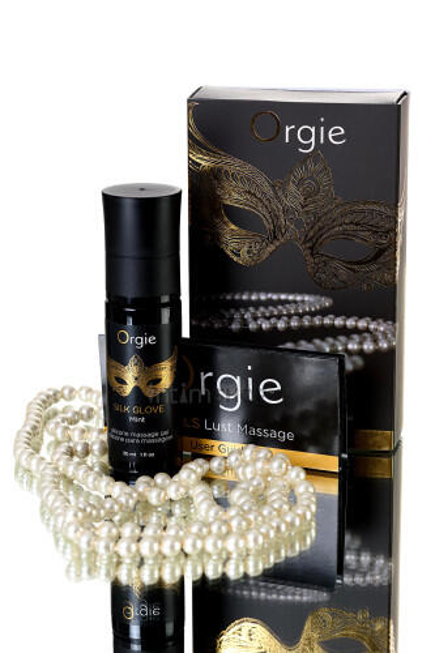 Комплект для эротического массажа Orgie Pear Lust Massage (силиконовый массажный гель + жемчужное ожерелье), 30 мл