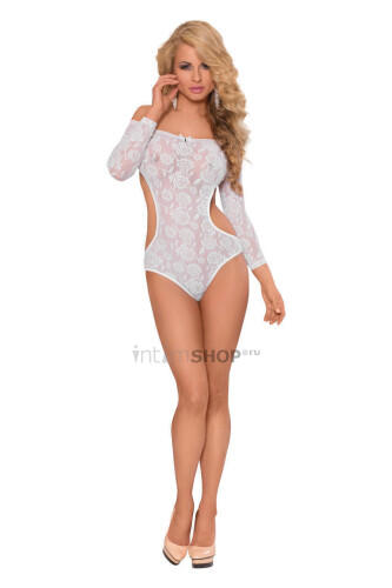 Боди с открытыми плечами и рукавами SoftLine Collection Rosa, белый, M/L