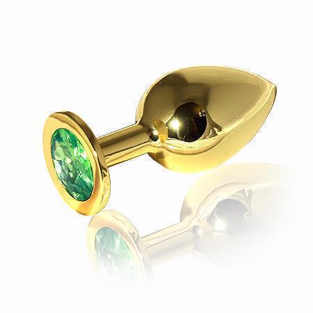 Анальная пробка LoveToys Butt Plug L с зеленым кристаллом, золотая