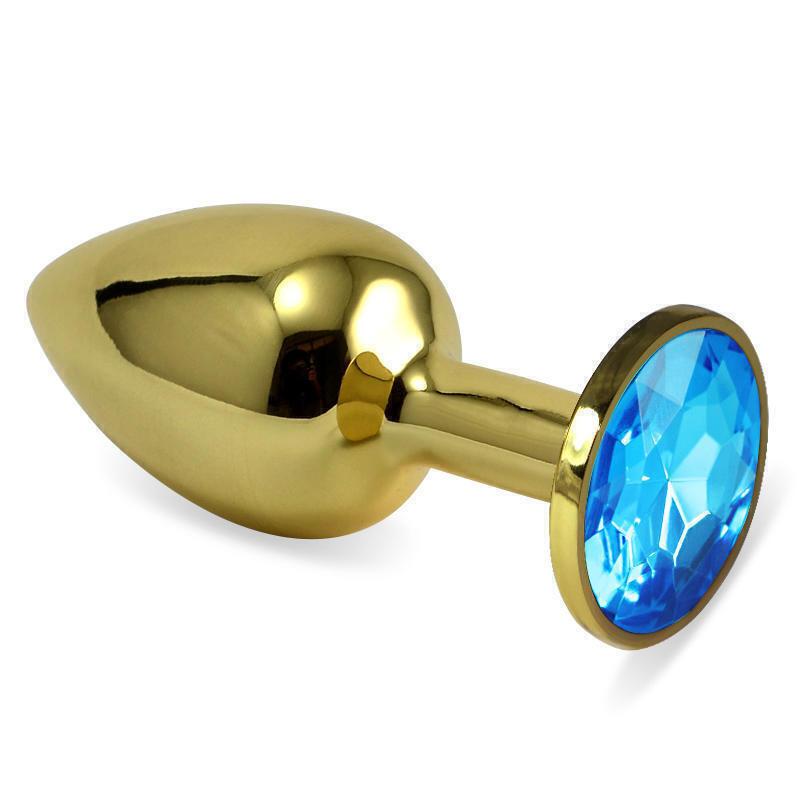Анальная пробка LoveToys Butt Plug S с голубым кристаллом, золотая