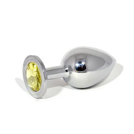 Анальная пробка LoveToys Butt Plug L с желтым кристаллом, серебряная