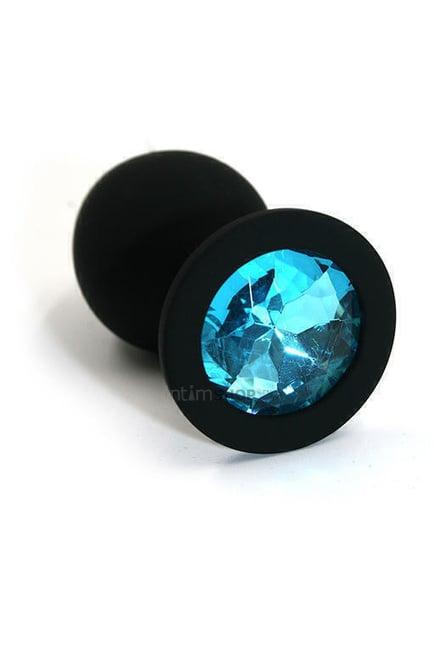 Анальная пробка из силикона с голубым кристаллом Kanikule, черная