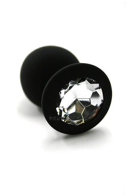 Анальная пробка из силикона с прозрачным кристаллом Kanikule, черная
