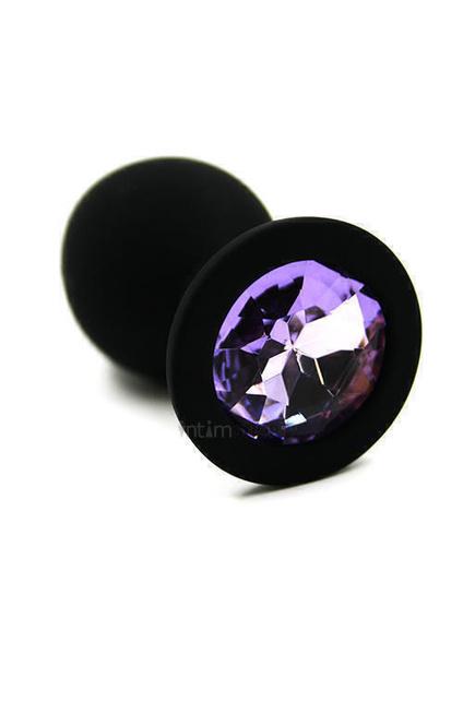 Анальная пробка из силикона черная с сиреневым кристаллом