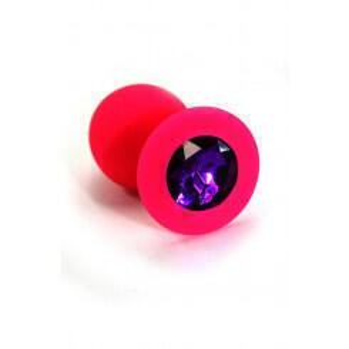 Анальная пробка из силикона с фиолетовым кристаллом Kanikule, розовая