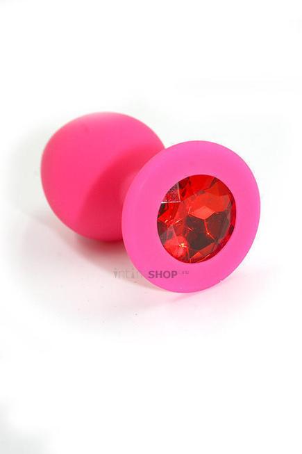 Анальная пробка из силикона с красным кристаллом Kanikule, розовая