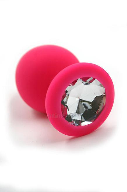 Анальная пробка из силикона с прозрачным кристаллом Kanikule, розовая