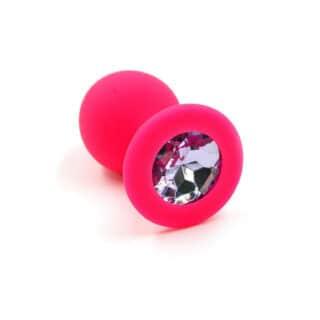 Анальная пробка из силикона с розовым кристаллом Kanikule, розовая
