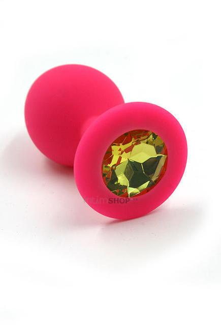 Анальная пробка из силикона Kanikule с желтым кристаллом, розовая