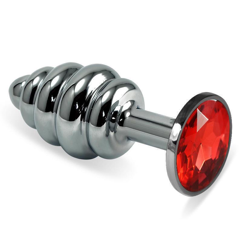 Анальная пробка ребристая LoveToys Butt Plug S с рубиновым кристаллом, серебряная