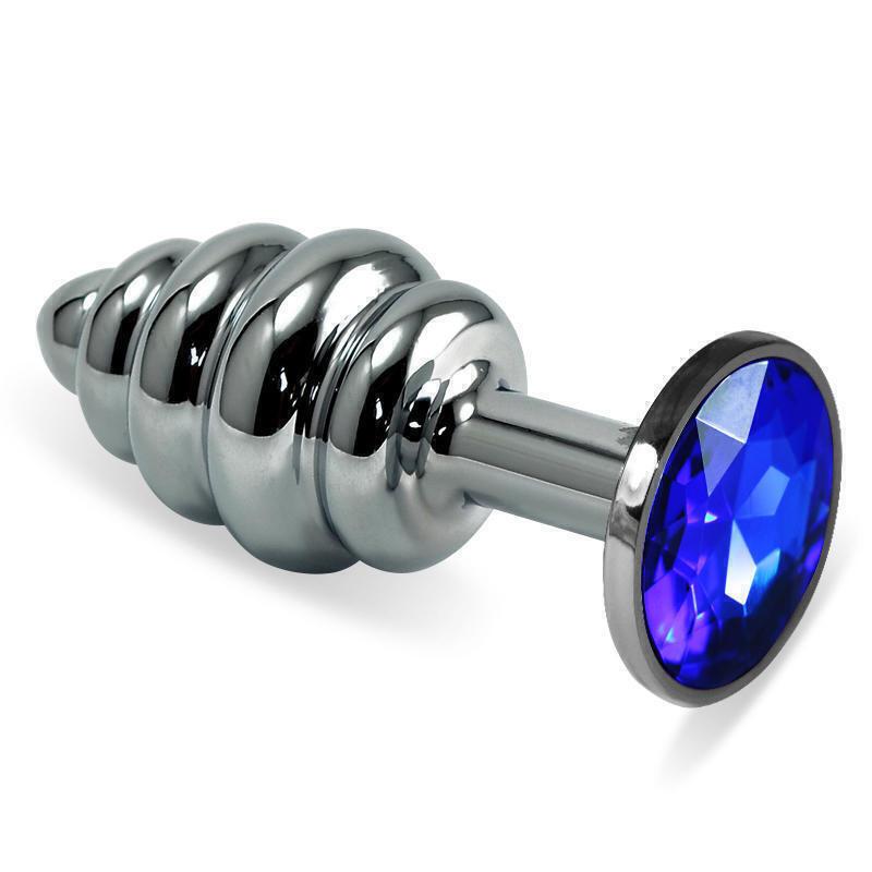 Анальная пробка ребристая LoveToys Butt Plug S с синим кристаллом, серебряная
