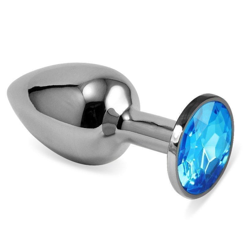 Анальная пробка LoveToys Butt Plug S с голубым кристаллом, серебряная