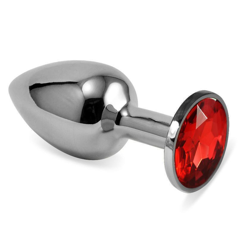 Анальная пробка LoveToys Butt Plug S с рубиновой вставкой, серебряная
